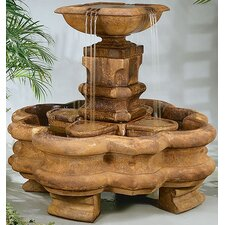 Centerpiece Cast Stone Classic Planter Pillar Waterfall Fountain