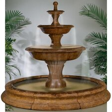 Tiered Cast Stone Grande Barrington in Toscana Pool Waterfall Fountain