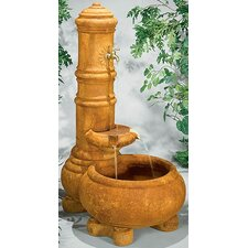 Wall Cast Stone Cylinder Well Fountain
