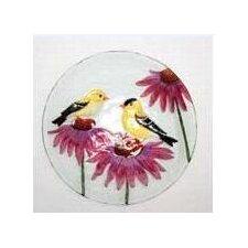 Bird Bath Finches on Glass (Set of 2)