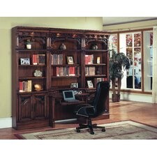 Barcelona Library Writing Desk with Hutch