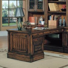 "Barcelona 32"" Peninsula Desk Base in Dark Red Walnut"