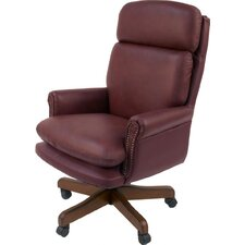 Home Office High-Back Leather Executive Chair with Nailhead Arms