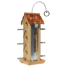 Wood Tin Jay Hopper Bird Feeder