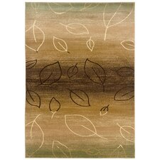 Adana Light Brown/Light Moss Striped / Leaf Motifs Rug