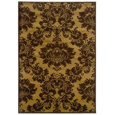 Adana Dark Yellow/Light Brown Traditional Design Rug
