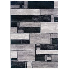 <strong>LR Resources</strong> Adana Charcoal/Grey Oblong Blocks Rug