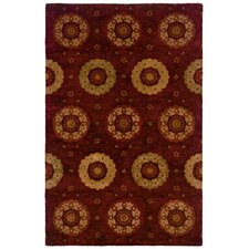 Majestic Chili Red Circular Motifs on Eye-Catching Rug