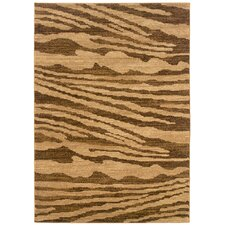 <strong>LR Resources</strong> Opulence Cream/Light Brown Woodgrain Inspired Rug