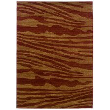 <strong>LR Resources</strong> Opulence Cherry/Dark Yellow Woodgrain Inspired Rug