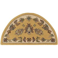 Shapes Gold/Ivory Border and Traditional Floral Rug