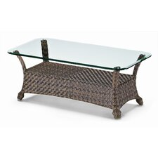 48'' Glass Top Wicker Coffee Table