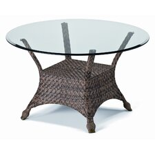 Wicker Base Tables Accessory, Dining Height 48'' Round Wicker Dining Table with Glass Top