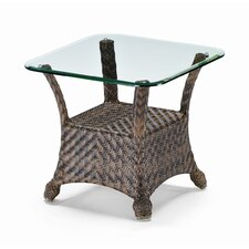 Square Glass Top Wicker End Table