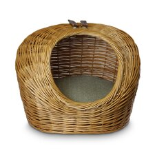 Luxury Wicker Herringbone Cat Basket and Bed
