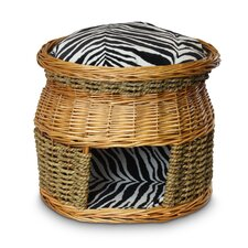 Luxury Wicker Double Decker Zebra Micro Cat Basket and Bed
