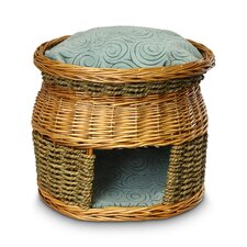 Luxury Wicker Double Decker Quasar Robins Egg Cat Basket and Bed