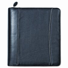 "Nappa Leather Ring Bound Organizer with Zipper, 8.5"" Wide"