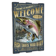 Rainbow Trout Wooden Cabin Sign Wall Decor