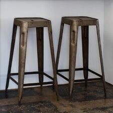 Steel Stacking Barstool in Natural Patina (Set of 2)