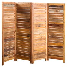 "71"" x 70"" Reclaimed 4 Panel Room Divider"