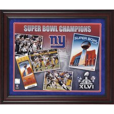 NFL New York Giants Super Bowl XLVI Champions Framed Program and Ticket Collage