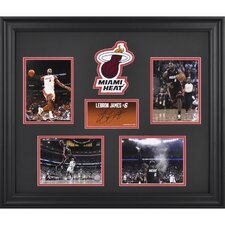 LeBron James Miami Heat 4 Photos Framed Collage with Facsimile Signature and Logo