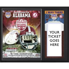 "Alabama Crimson Tide 2012 BCS National Champions Sublimated ""I WAS THERE"" Ticket Plaque"