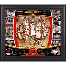 Miami Heat 2013 NBA Champions Road to the Finals Framed Collage with Facsimile Signatures