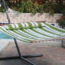 <strong>Smart Garden</strong> Santorini Premium Reversible Two Person Fabric Quilted Hammock with Stand