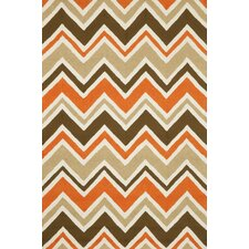 Capri Orange See Saw Indoor/Outdoor Rug