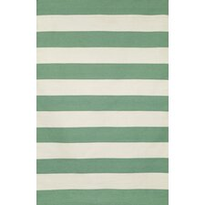 Sorrento Rugby Stripe Aqua/White Indoor/Outdoor Area Rug