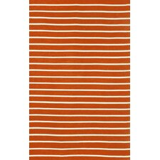 Sorrento Pinstripe Paprika Orange Indoor/Outdoor Area Rug