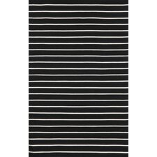Sorrento Pinstripe Black Indoor/Outdoor Rug