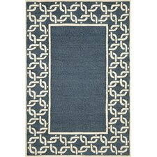 Spello Denim Chain Border Blue/Cream Outdoor Area Rug
