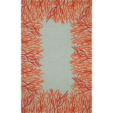 Spello Orange Coral Border Orange/Blue Outdoor Area  Rug