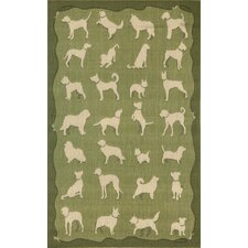 Terrace Green Dog Walk Green/Beige Indoor/Outdoor Area Rug