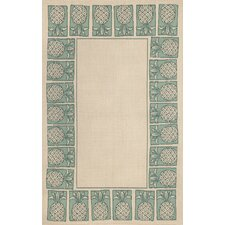 Terrace Aqua Pineapple Stamp Rug