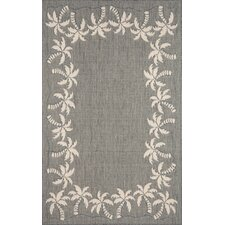 Terrace Silver Palmtree Border Indoor/Outdoor Rug
