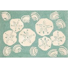 Frontporch Aqua Shell Toss Rug