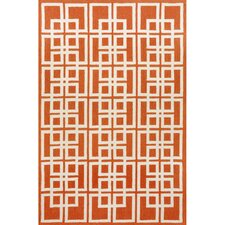 Capri Orange Oriental Squares Outdoor Area Rug