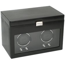 <strong>Wolf Designs</strong> Heritage Module 2.1 Double Watch Winder with Cover and Watch Storage in Black