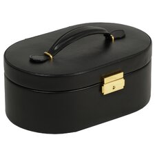 Heritage Chelsea Oval Jewelry Case with Folding Tray in Black