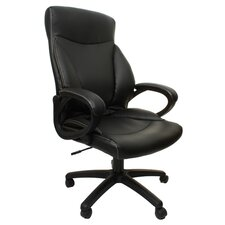 Leather Back Bonded Office Chair with Curved and Padded Arms