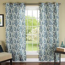 Ikat Plume Poly Linen Textured Cloth Grommet Curtain Panel (Set of 2)