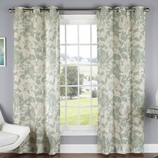 Peony Luxury Poly Duck Cloth Grommet Curtain Panel (Set of 2)
