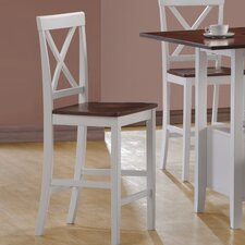 Counter Height Bar Stools in White and Walnut (Set of 2)