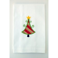 Egyptian Cotton Huck Holiday Applique Christmas Tree Hand Towel