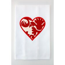 Egyptian Cotton Huck Holiday Applique Valentine Heart Hand Towel