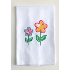 Egyptian Cotton Huck Holiday Applique Spring Flowers Hand Towel